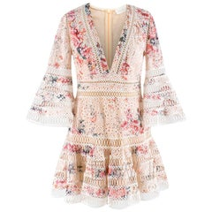Zimmerman Laelia Flutter Eyelet V-Neck Mini Dress Dress SIZE UK 10