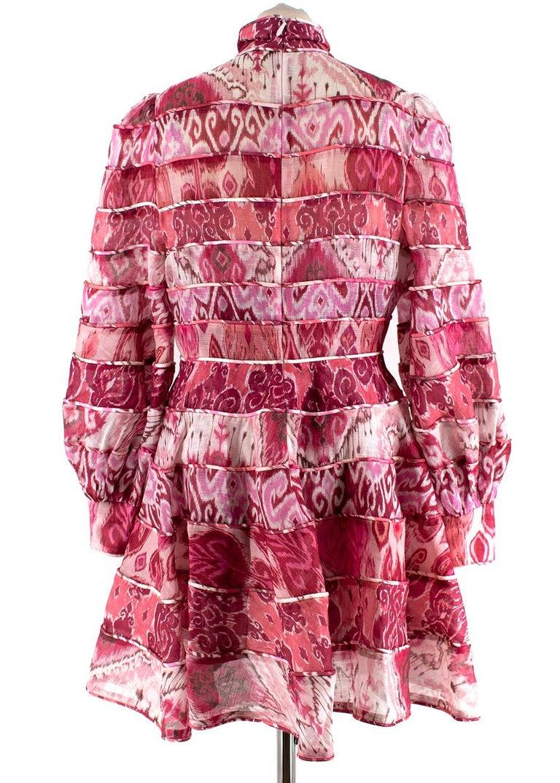 Zimmerman Pink Spliced Ikat Print Mini Dress  2  In New Condition In London, GB