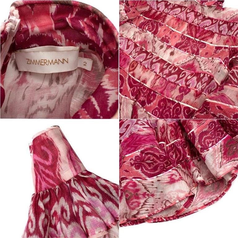Zimmerman Pink Spliced Ikat Print Mini Dress  2  2