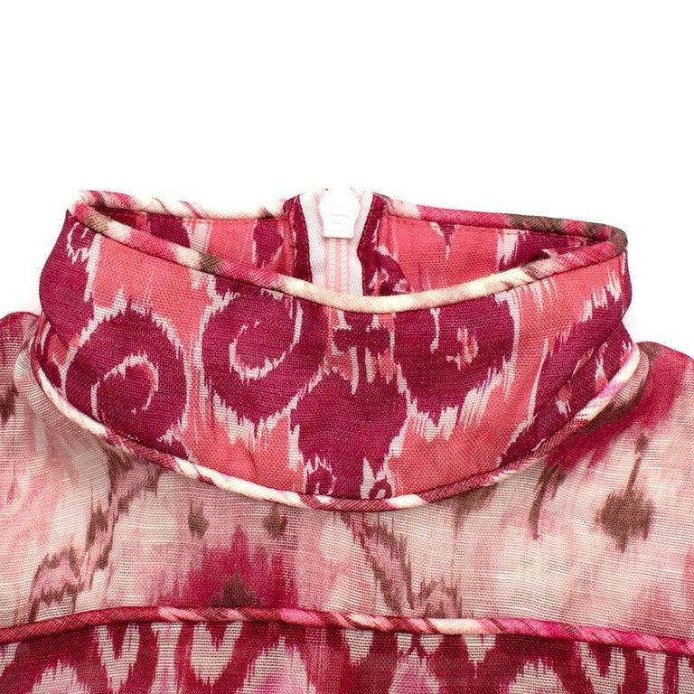 Zimmerman Pink Spliced Ikat Print Mini Dress  2  3