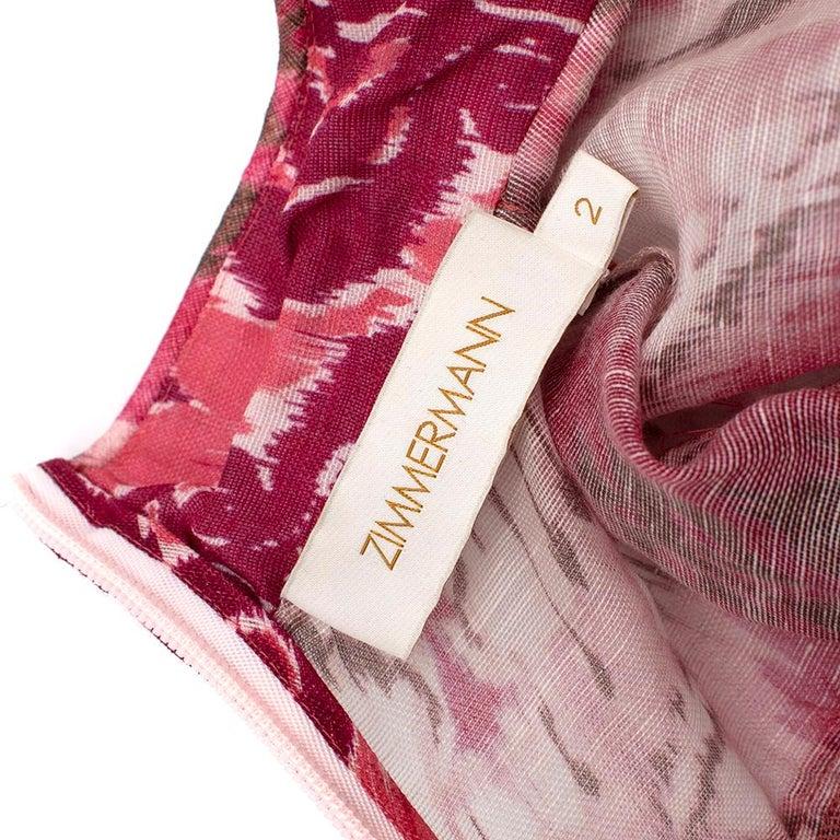 Zimmerman Pink Spliced Ikat Print Mini Dress  2  5