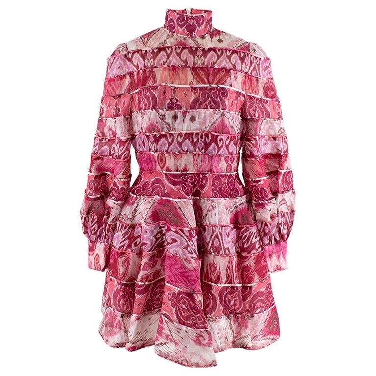 Zimmerman Pink Spliced Ikat Print Mini Dress  2