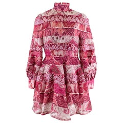 Zimmerman Pink Spliced Ikat Print Mini Dress  2