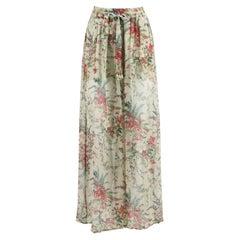 Zimmermann Bayou Floral Print Silk Crepon Pants UK 8
