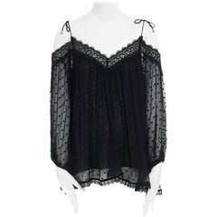 ZIMMERMANN black lace trimmed polkadot embroidered silk cold shoulder top XS