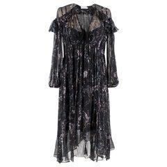 Zimmermann Black Paradiso Floral-print Silk Dress UK 8 EU 40 US 4