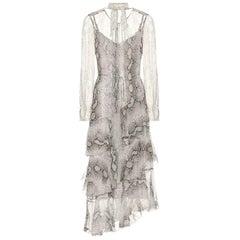 Zimmermann Corsage Asymmetric Tiered Printed Silk Georgette Midi Dress