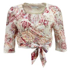 Zimmermann Epoque Broderie Anglaise Cotton Wrap Top UK 8