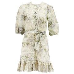 Zimmermann Floral Print Broderie Anglaise Linen Mini Dress UK 8