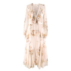 Zimmermann Floral-print Ruffled Silk Maxi Dress Size 1