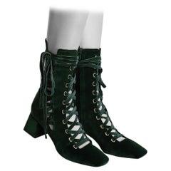 Zimmermann FW20 Green Velvet Lace-up Boots - Size EU 41