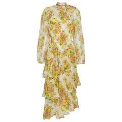 Zimmermann Golden Tiered Ruffle Floral-Print Midi Dress