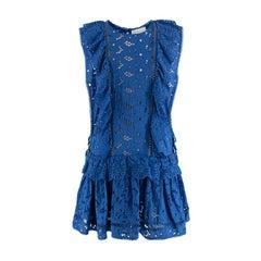 Zimmermann Hyper Eyelet Electric Blue Broderie Anglaise Mini Dress