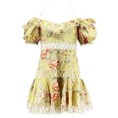 Zimmermann Jaya Wave Crochet Trimmed Floral Print Linen Blend Mini Dress UK 10