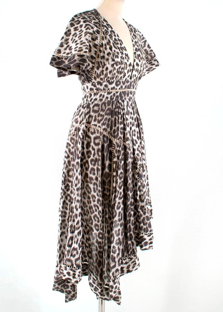 Zimmermann - leopard print asymmetrical dress  - v-neck - lose fit with fitted waist - cut out details - lined skirt  - asymmetrical handkerchief skirt  - lightweight - pleated detail at the chest and waist   - 100% Cotton - hand wash  - made in