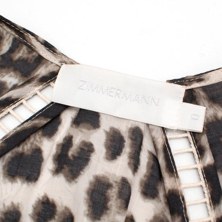 Zimmermann Leopard Print Asymmetrical Dress XXS  In Excellent Condition For Sale In London, GB