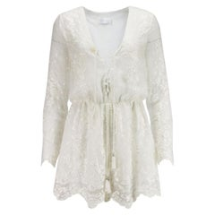 Zimmermann Lucia Lace Up Embroidered Silk Ggeorgette Playsuit UK 8