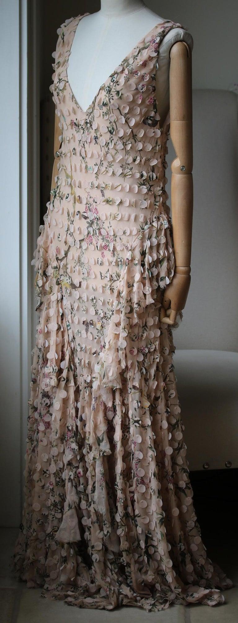 Beige Zimmermann Maples Whisper Appliquéd Printed Silk Midi Dress For Sale