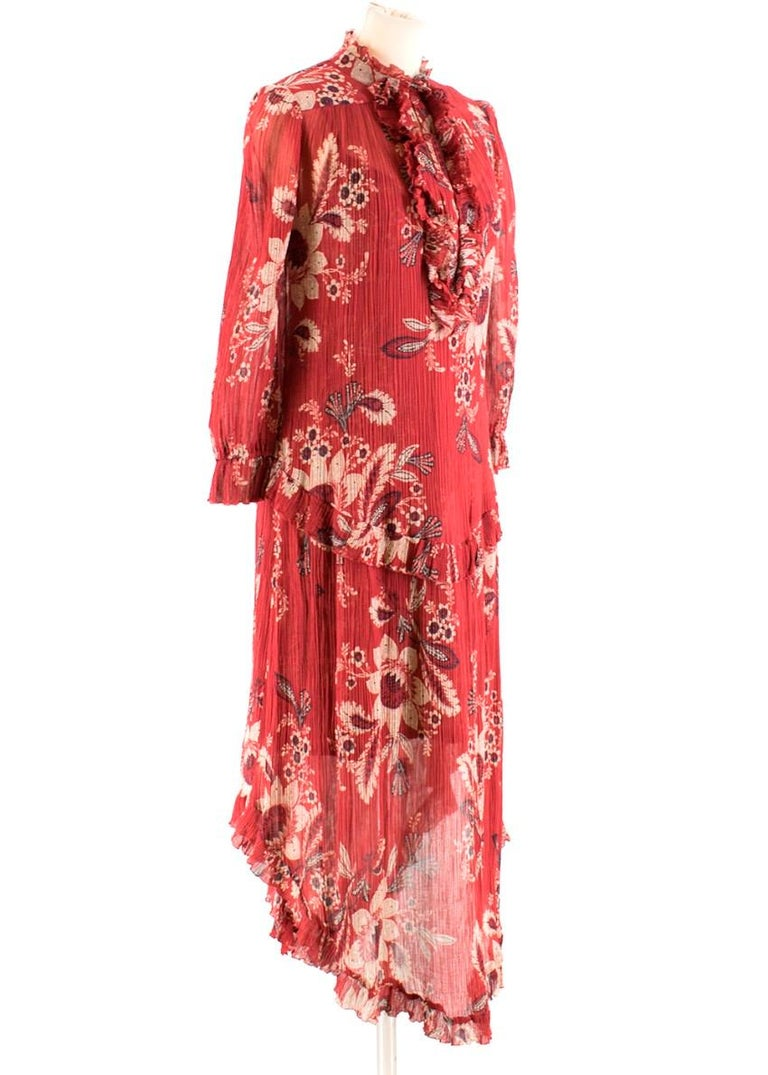 Red Zimmermann Maroon Ruffled Floral Print Silk Dress S  For Sale