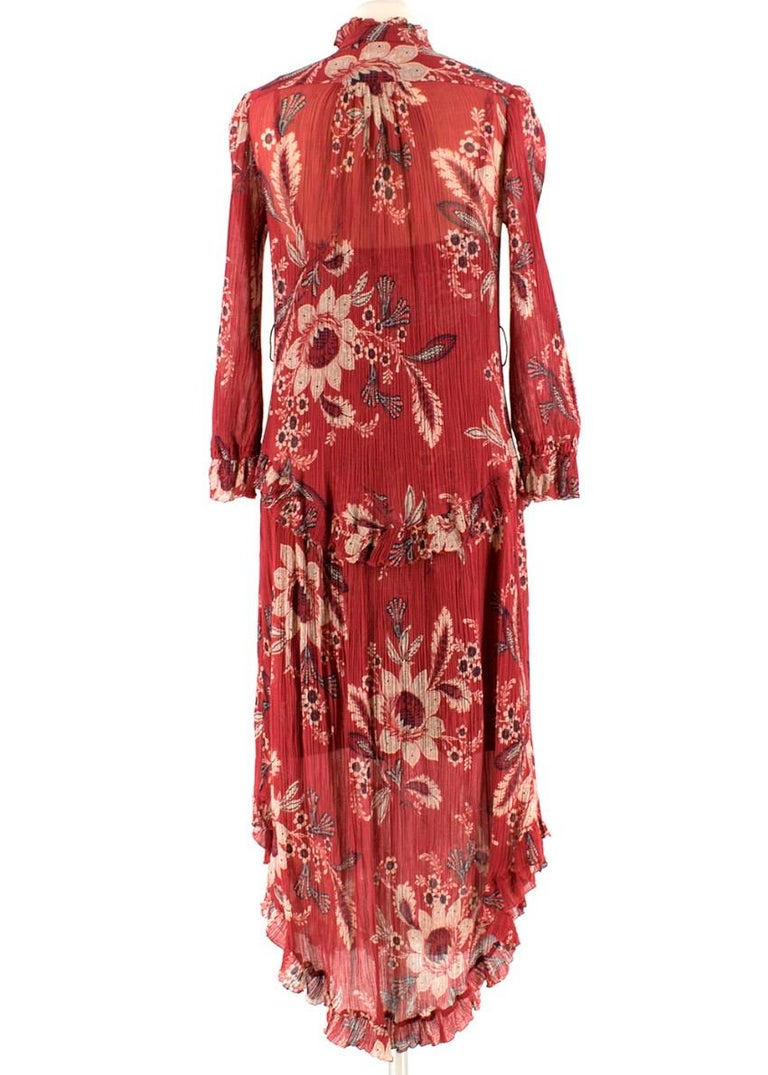 Zimmermann Maroon Ruffled Floral Print Silk Dress S  In New Condition For Sale In London, GB