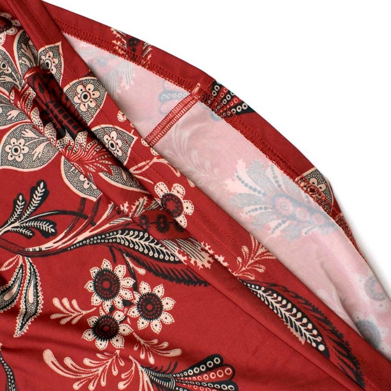 Zimmermann Maroon Ruffled Floral Print Silk Dress S  For Sale 1