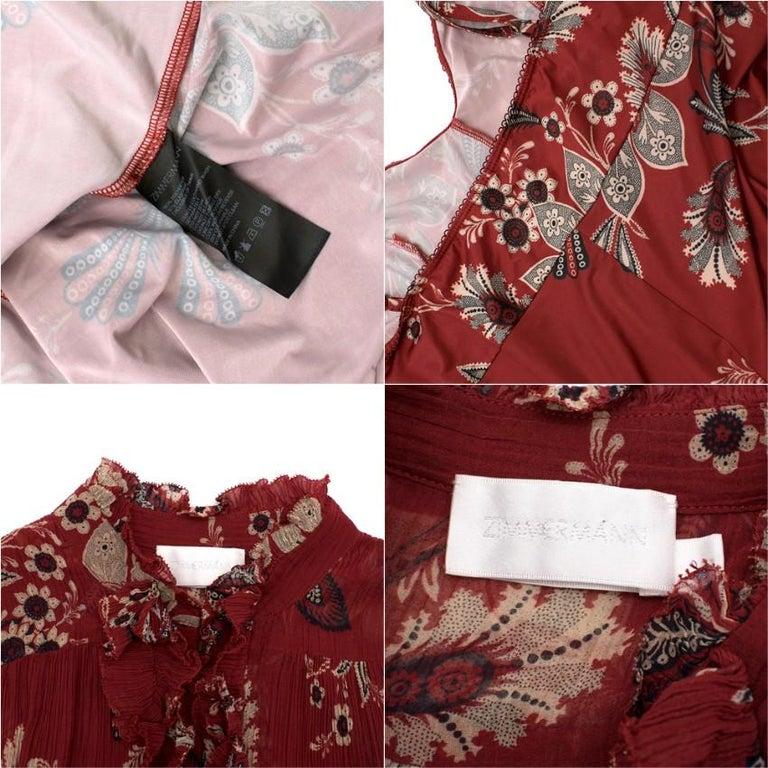 Zimmermann Maroon Ruffled Floral Print Silk Dress S  For Sale 2
