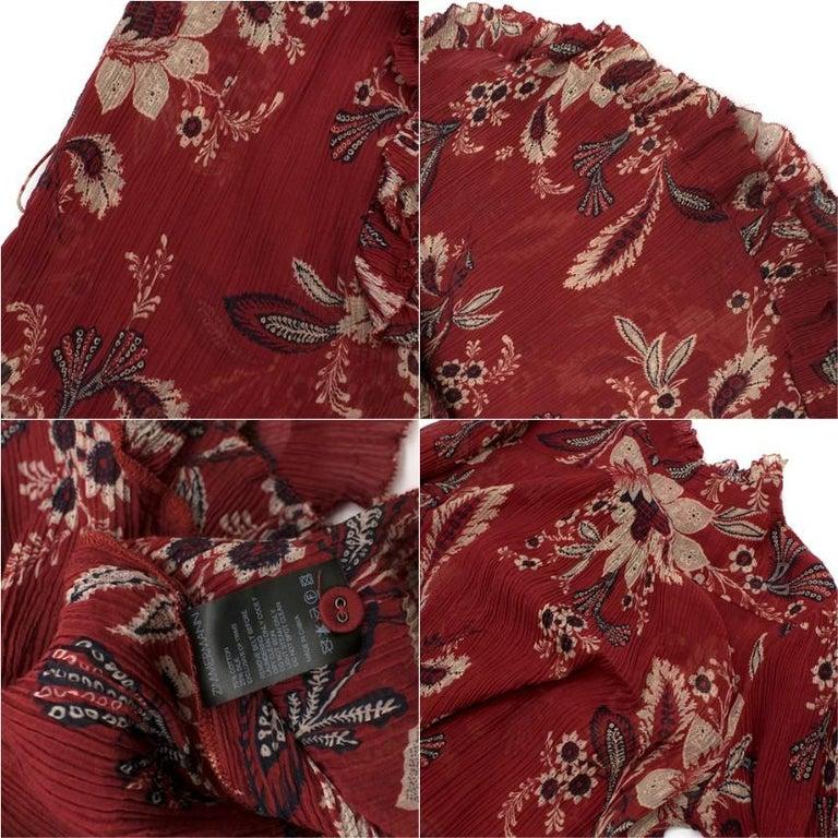 Zimmermann Maroon Ruffled Floral Print Silk Dress S  For Sale 3