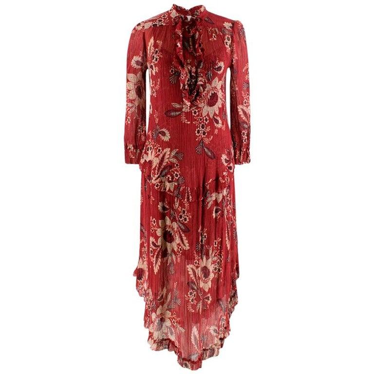 Zimmermann Maroon Ruffled Floral Print Silk Dress S  For Sale