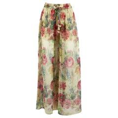 Zimmermann Melody Floral Print Silk Crepon Pants UK 8