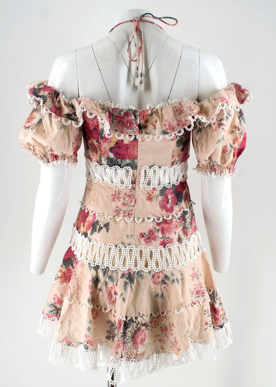 Beige Zimmermann Melody Meadow Floral-Print Tiered-Frill Mini Dress SIZE 1