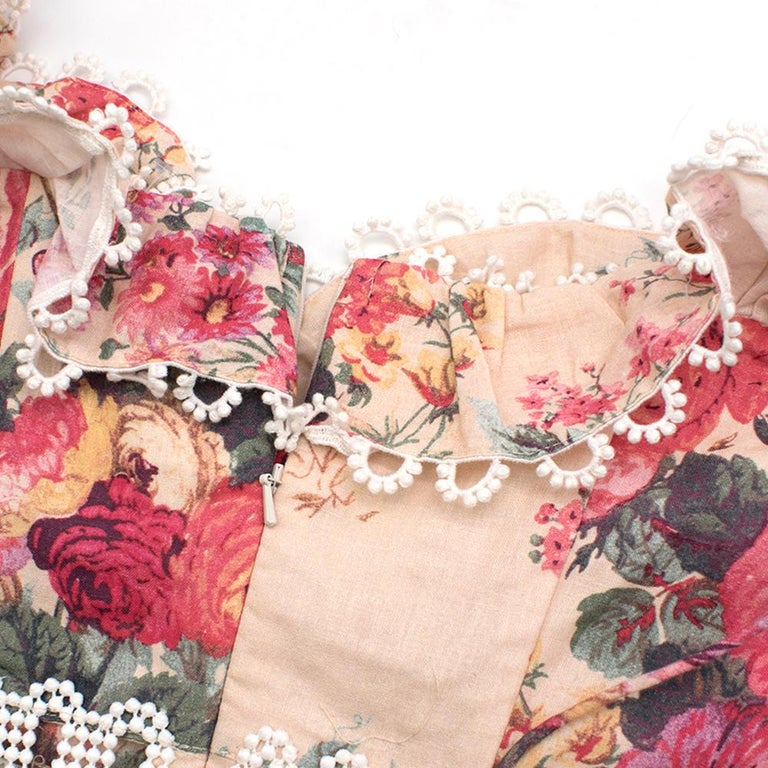 Zimmermann Melody Meadow Floral-Print Tiered-Frill Mini Dress SIZE 1 In Excellent Condition In London, GB