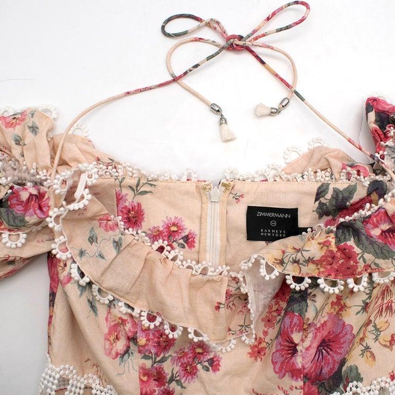 Women's Zimmermann Melody Meadow Floral-Print Tiered-Frill Mini Dress SIZE 1