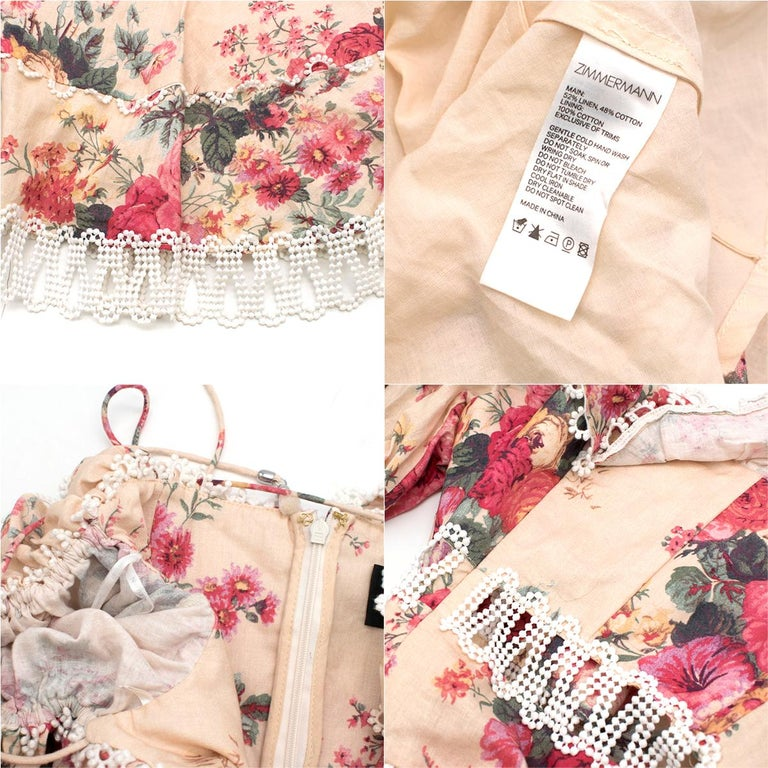 Zimmermann Melody Meadow Floral-Print Tiered-Frill Mini Dress SIZE 1 4