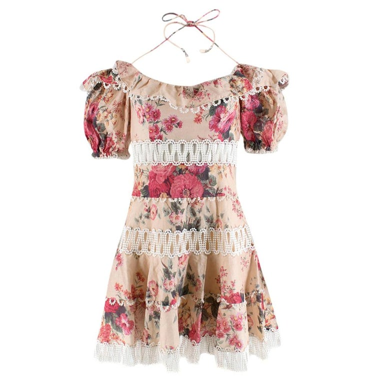 Zimmermann Melody Meadow Floral-Print Tiered-Frill Mini Dress SIZE 1