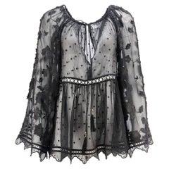 Zimmermann Mercer Embroidered Silk Georgette Top UK 10