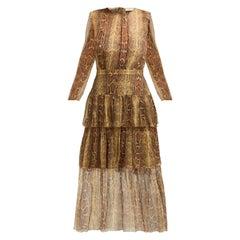 Zimmermann Ninety Six Tiered Printed Silk Georgette Midi Dress