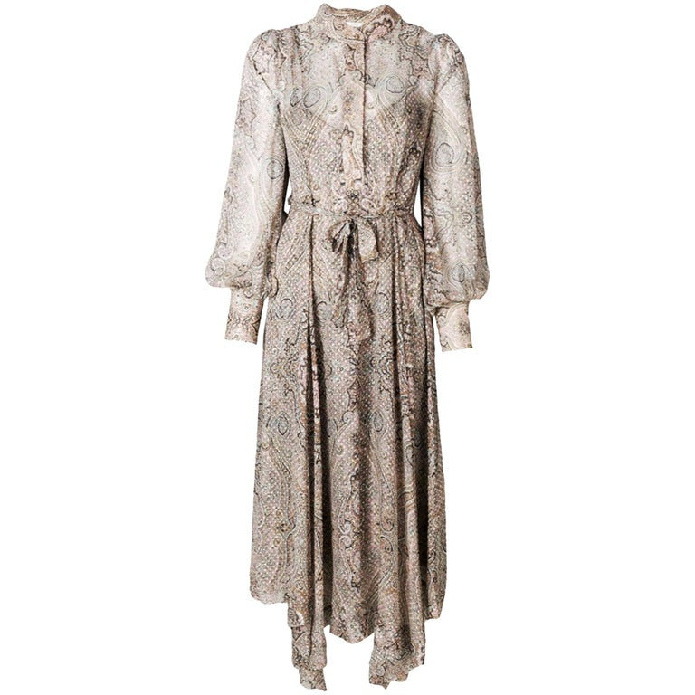 Zimmermann Paisley-Print Belted Midi Dress  For Sale