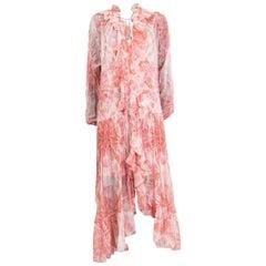 ZIMMERMANN pink & white silk CHIFFON EMBELLISHED BATIK MAXI Dress 2 XXS