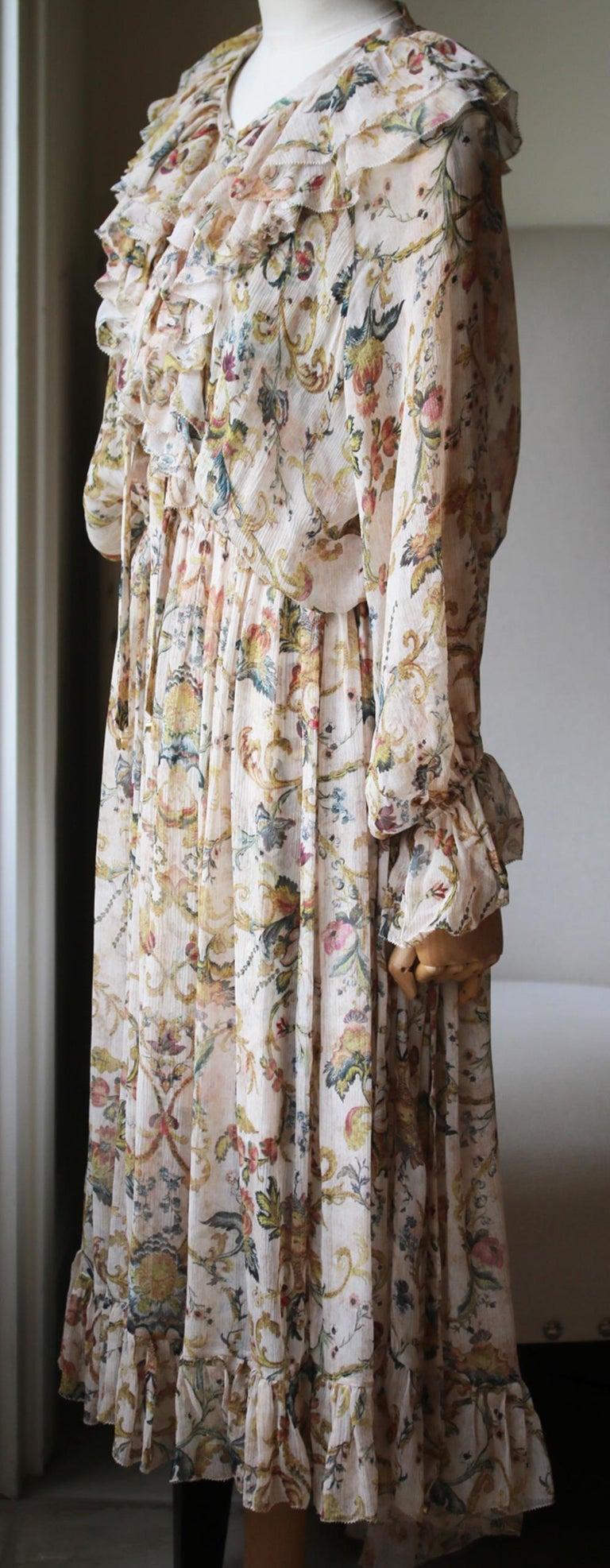 Beige Zimmermann Ruffled Printed Silk-Georgette Midi Dress  For Sale
