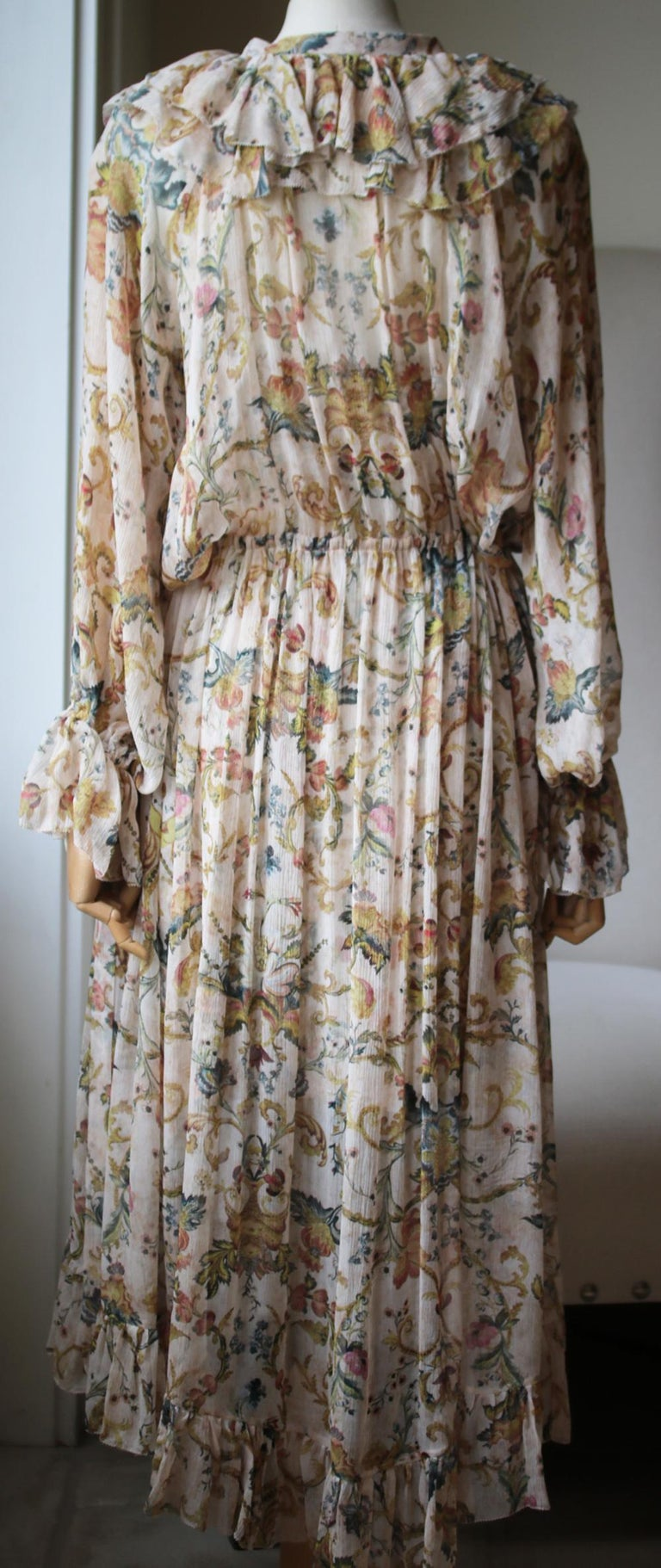 Zimmermann Ruffled Printed Silk-Georgette Midi Dress  In Excellent Condition For Sale In London, GB