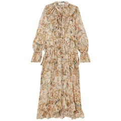Zimmermann Ruffled Printed Silk-Georgette Midi Dress