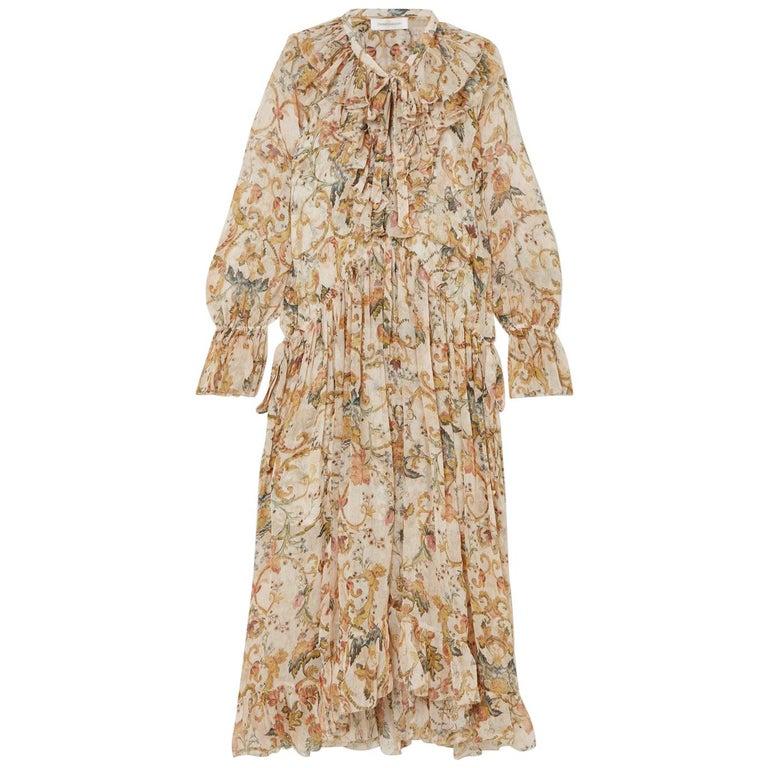 Zimmermann Ruffled Printed Silk-Georgette Midi Dress  For Sale