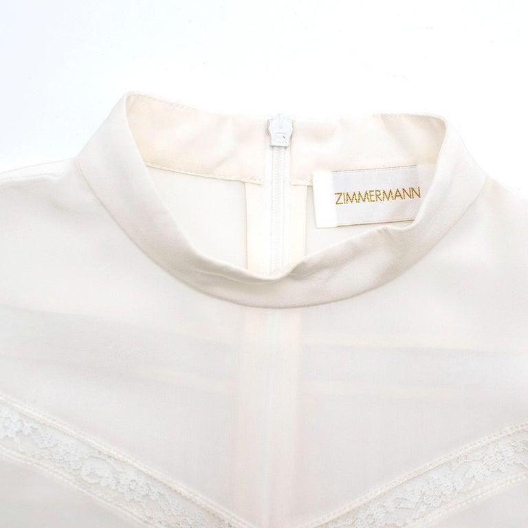 Women's or Men's Zimmermann Silk white high neck mini dress XXS For Sale