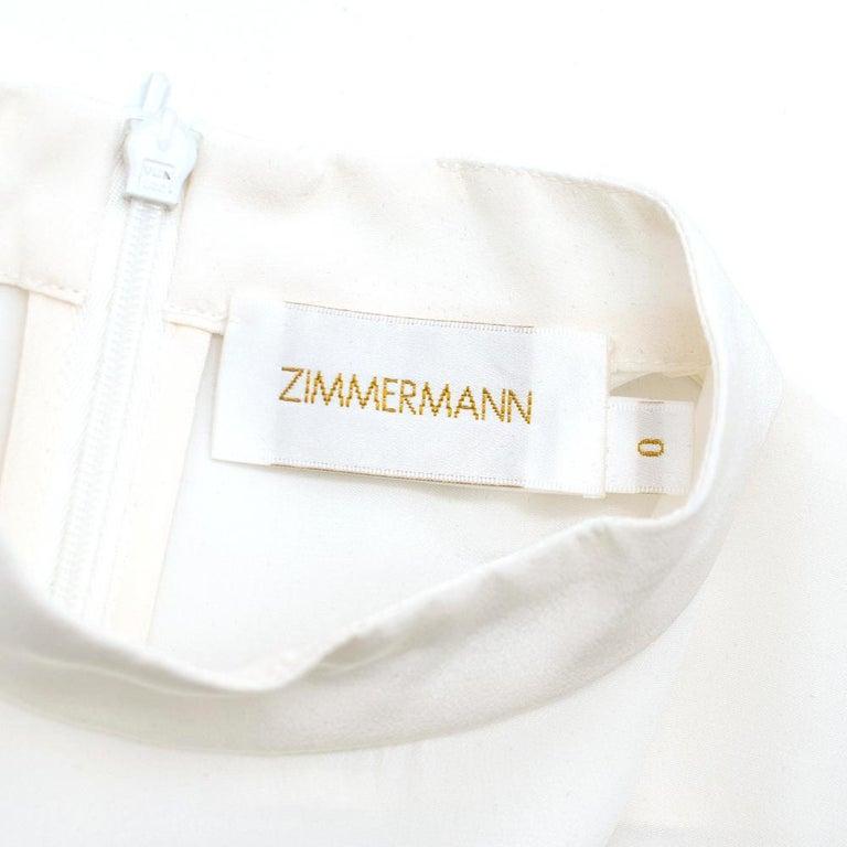 Zimmermann Silk white high neck mini dress XXS For Sale 1