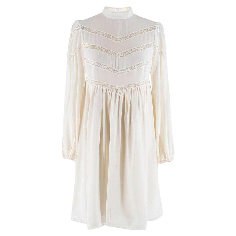 Zimmermann Silk white high neck mini dress XXS For Sale