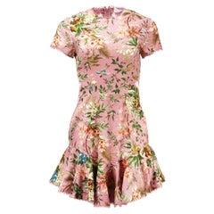 Zimmermann Tropicale Open Back Floral Printed Linen Blend Mini Dress UK 8