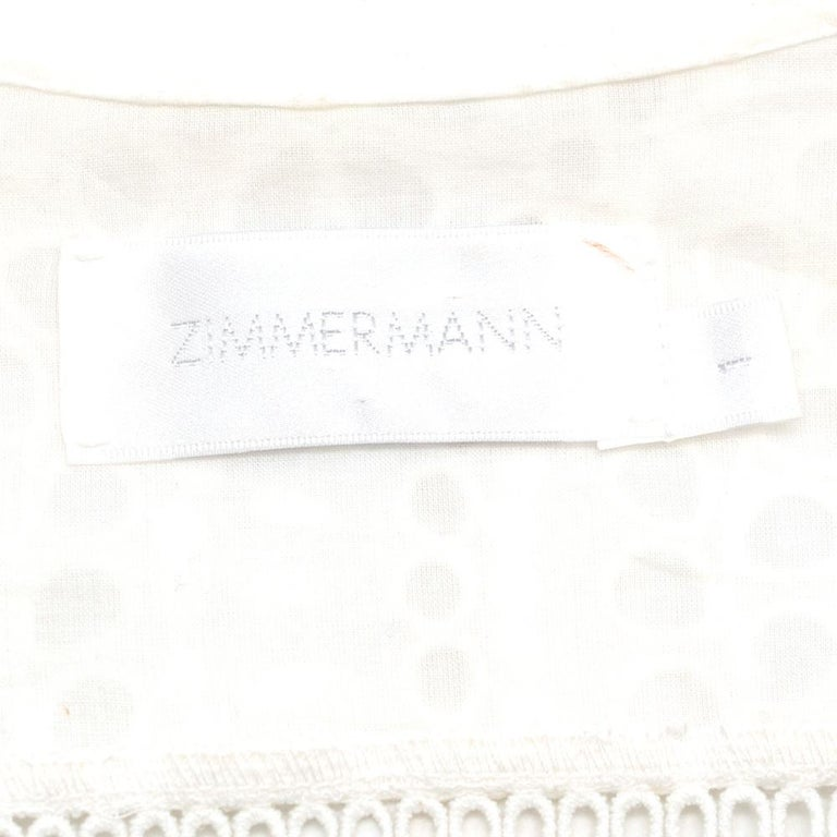 Women's Zimmermann White Broderie Asymmetric Midi Dress Size 1 For Sale