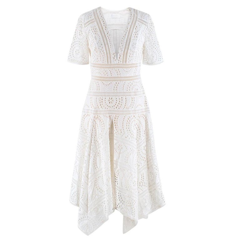 Zimmermann White Broderie Asymmetric Midi Dress Size 1 For Sale