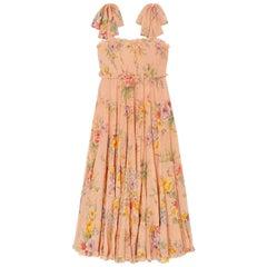 Zimmermann Zinnia Shirred Floral Print Silk Blend Crepon Midi Dress