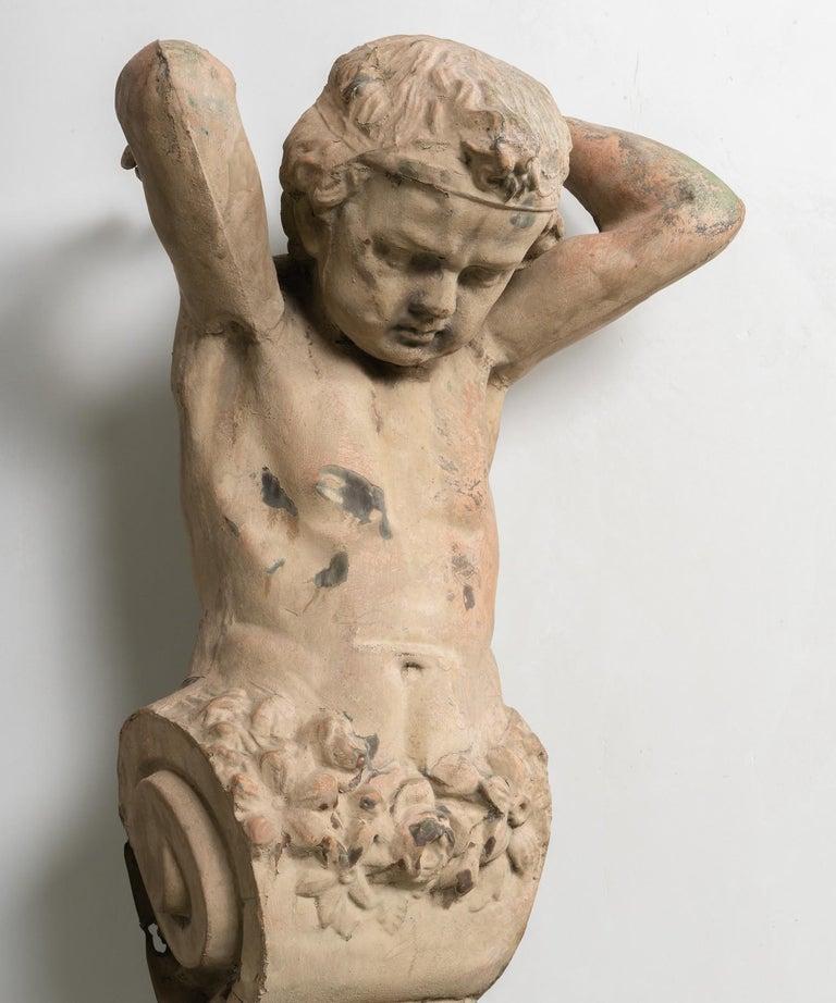 Cast Zinc Architectural Figure, France, 19th Century For Sale